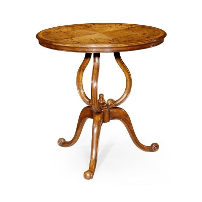 Jonathan Charles Walnut Lamp Table with Satinwood Inlaid Top