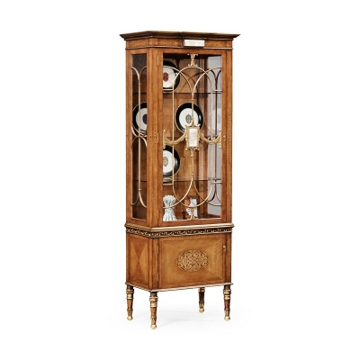 Jonathan Charles Narrow Satinwood Display Cabinet with Eglomise Details