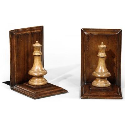 Jonathan Charles Walnut Chess Piece Bookends Queen