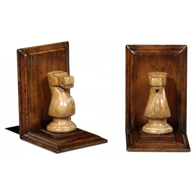 Jonathan Charles Walnut Chess Piece Bookends Knight