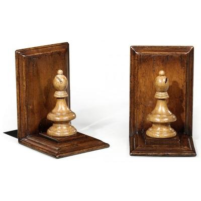 Jonathan Charles Walnut Chess Piece Bookends Bishop