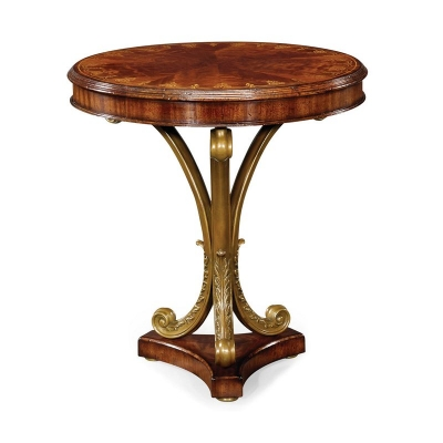 Jonathan Charles Mahogany and Brass Round Side Table