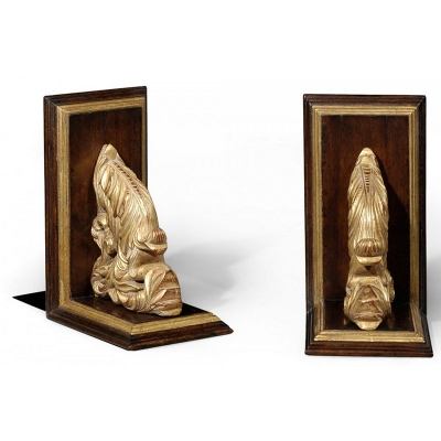 Jonathan Charles Pair of Walnut Bookends with Gilded Leaf Design