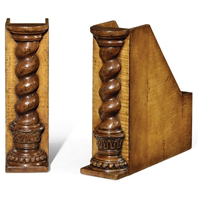 Jonathan Charles Pair of Box File Bookends Twisted Columns