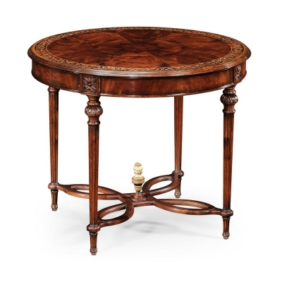 Jonathan Charles Napoleon III Mahogany Centre Table Plain Base