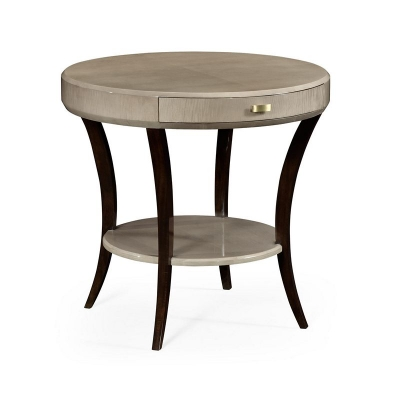 Jonathan Charles Opera Art Deco Round Side Table with Drawer and Brass Handle