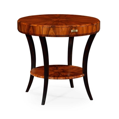 Jonathan Charles Art Deco Round Side Table with Drawer and Brass Handle High Lustre