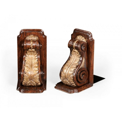 Jonathan Charles Pair of Bookends Gilded Bracket Design