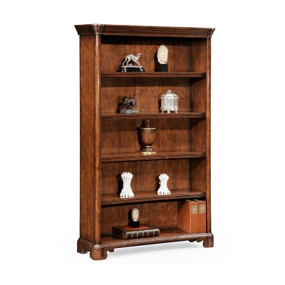 Jonathan Charles Walnut Tall Open Adjustable Bookcase Four Shelves Large