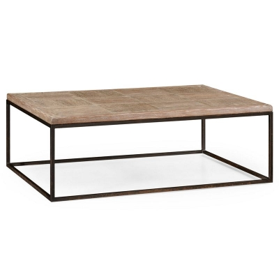 Jonathan Charles Limed Oak and Iron Coffee Table