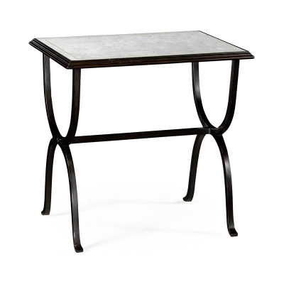 Jonathan Charles Eglomise and Bronze Iron Rectangular Side Table