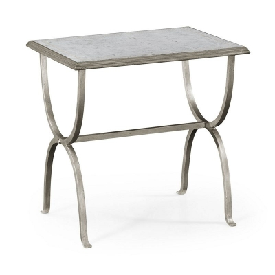 Jonathan Charles Eglomise and Silver Iron Rectangular Side Table