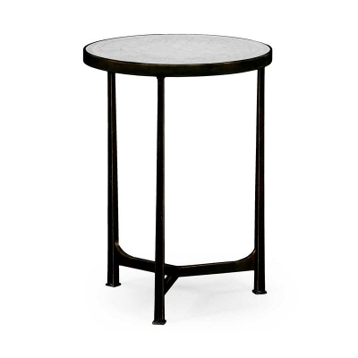 Jonathan Charles Eglomise and Bronze Iron Lamp Round Table