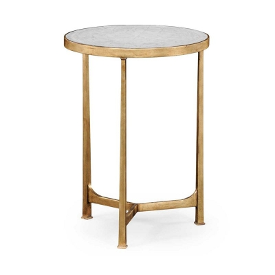 Jonathan Charles Eglomise and Gilded Iron Lamp Round Table