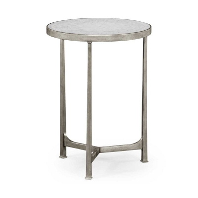Jonathan Charles Eglomise and Silver Iron Lamp Round Table