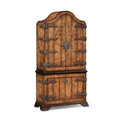 Jonathan Charles Spanish Style Crotch Walnut Drinks Cabinet