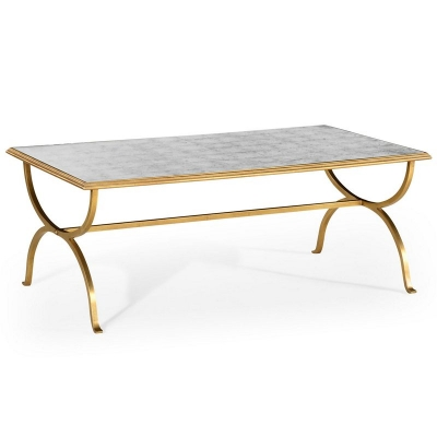 Jonathan Charles Eglomise and Gilded Iron Coffee Table
