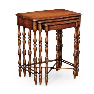 Jonathan Charles Mahogany Nest of Three Tables Turned Legs
