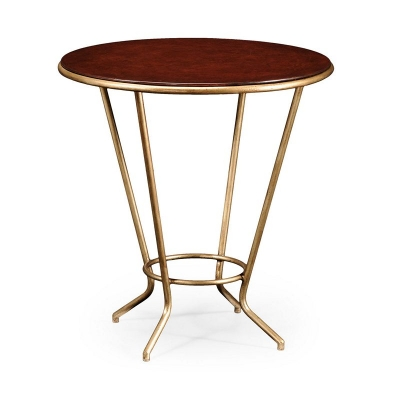 Jonathan Charles Leather Top and Gilded Iron Side Table
