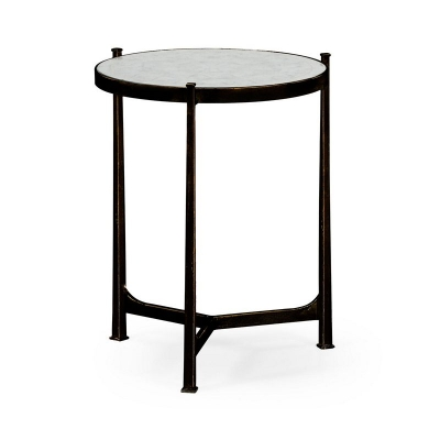 Jonathan Charles Eglomise and Bronze Iron Lamp Table Medium