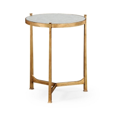 Jonathan Charles Eglomise and Gilded Iron Lamp Table Medium
