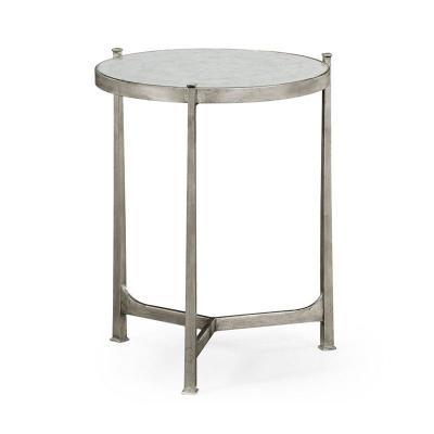 Jonathan Charles Eglomise and Silver Iron Lamp Table Medium