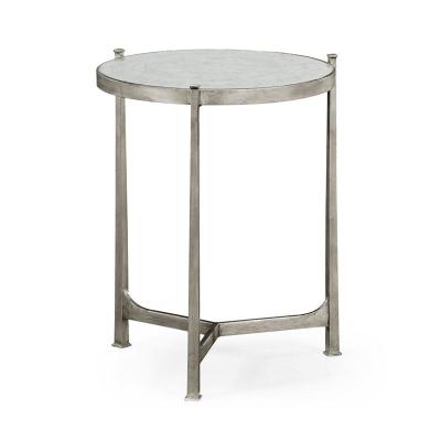 Jonathan Charles Eglomise and Silver Iron Lamp Table Medium