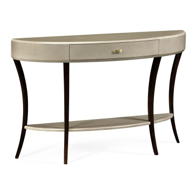 Jonathan Charles Opera Art Deco Large Demilune Console Table with Drawer and Brass Handle
