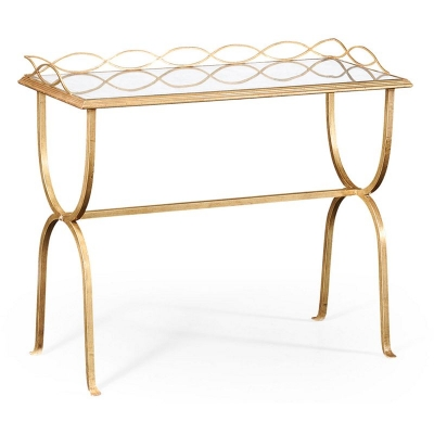 Jonathan Charles Eglomise and Gilded Iron Drinks Table