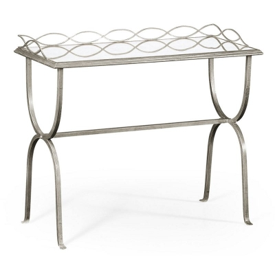 Jonathan Charles Eglomise and Silver Iron Drinks Table
