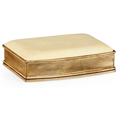 Jonathan Charles Faux Shagreen Gilded Box Cream