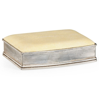 Jonathan Charles Faux Shagreen Silvered Box Cream