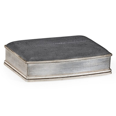 Jonathan Charles Anthracite Faux Shagreen Silver Leaf Box