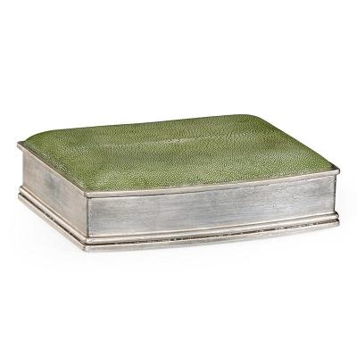 Jonathan Charles Green Faux Shagreen Silvered Box