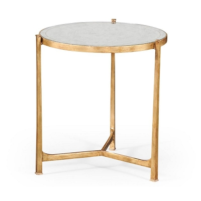 Jonathan Charles Eglomise and Gilded Iron Lamp Table Large