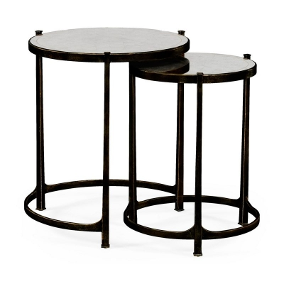 Jonathan Charles Eglomise and Bronze Iron Round Nest of Two Tables