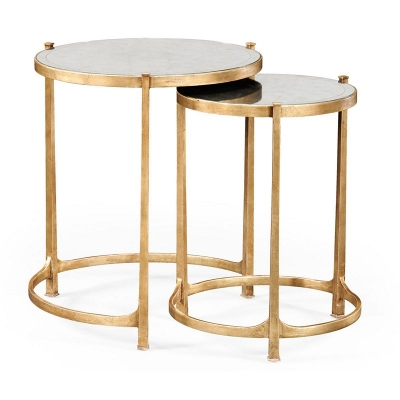 Jonathan Charles Eglomise and Gilded Iron Round Nest of Two Tables