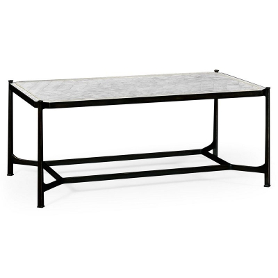 Jonathan Charles Eglomise and Bronze Iron Rectangular Coffee Table