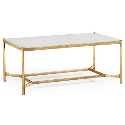 Jonathan Charles Eglomise and Gilded Iron Rectangular Coffee Table