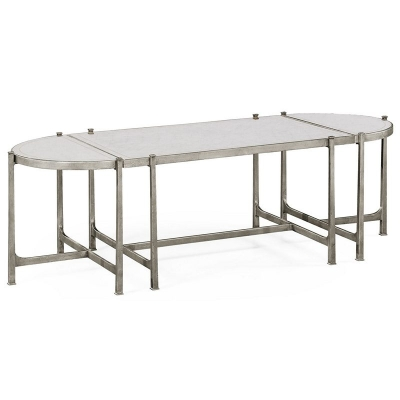 Jonathan Charles Eglomise and Silver Iron Bunching Tables