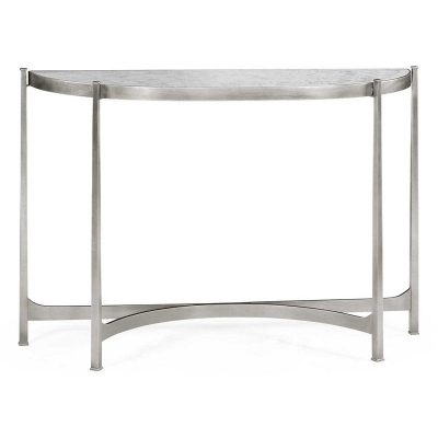 Jonathan Charles Eglomise and Silver Iron Demilune Console Large