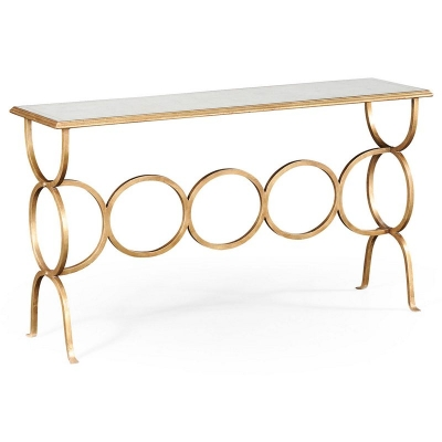 Jonathan Charles Eglomise and Gilded Iron Circles Console