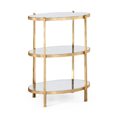 Jonathan Charles Eglomise and Gilded Iron Three Tier Table Large