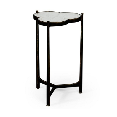 Jonathan Charles Eglomise and Bronze Iron Trefoil Lamp Table