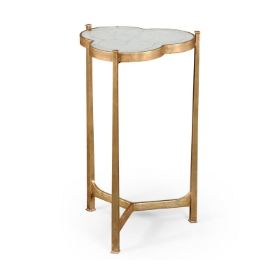 Jonathan Charles Eglomise and Gilded Iron Trefoil Lamp Table