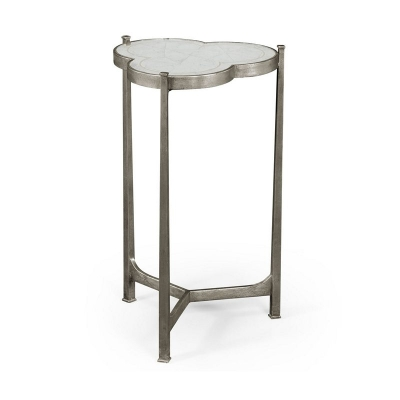 Jonathan Charles Eglomise and Silver Iron Trefoil Lamp Table