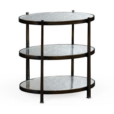 Jonathan Charles Eglomise and Bronze Iron Three Tier Table Small