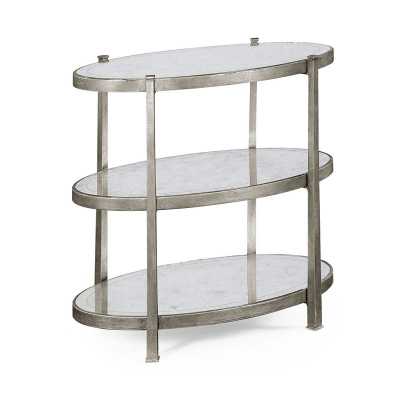 Jonathan Charles Eglomise and Silver Iron Three Tier Table Small