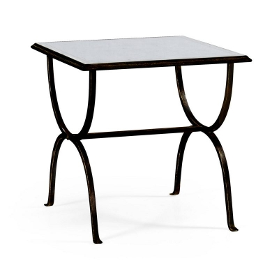 Jonathan Charles Eglomise and Bronze Iron Square Side Table