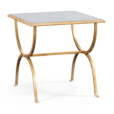 Jonathan Charles Eglomise and Gilded Iron Square Side Table